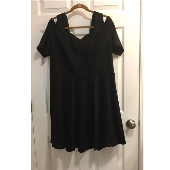 Macy's Black Plus Size Cold Shoulder Skater dress